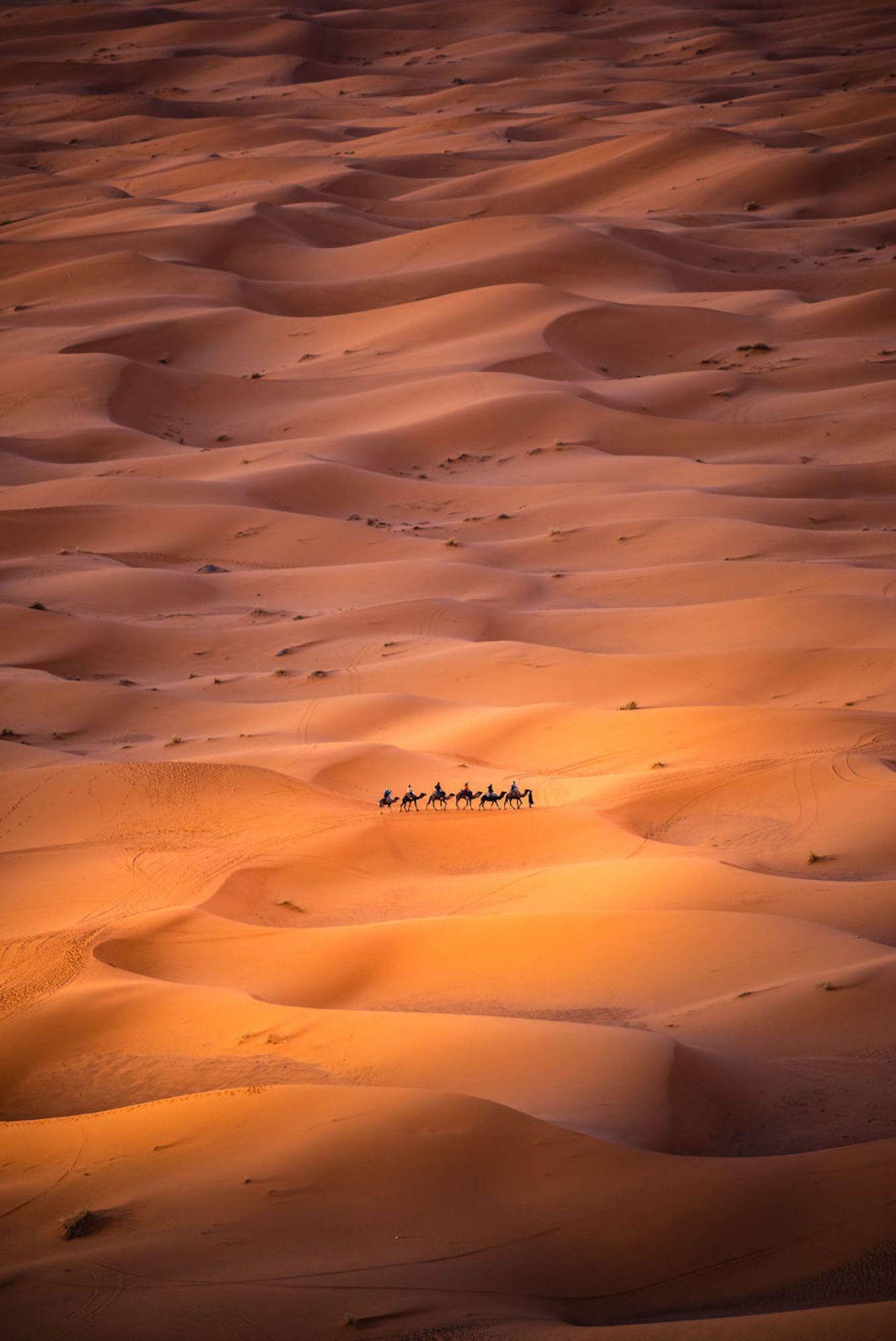 Foto foi tirada de uma duna alta em Merzouga, Marrocos, onde os nômades são vistos se movendo pelo deserto do Saara
