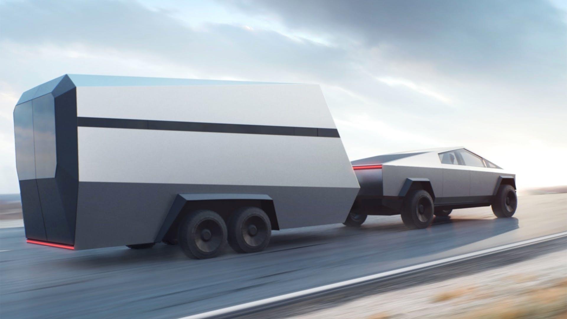 Tesla Cybertruck puxando um trailer